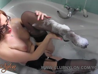 Horny Redhead Lesbian Slut In Nylons Masturbating In The Bathroom By Milf Caught And Fucked With Dildo Toy
