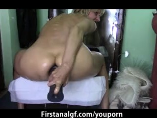 Dildo in ass and gushing cunt