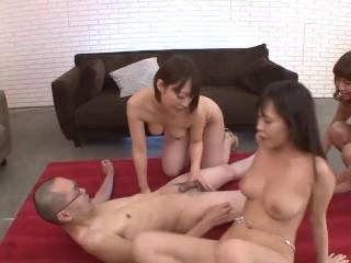 Uncensored JAV harem handjob anal fingering and blowjob