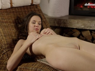 Toka Sparnem Shaved Teen Caressing Her Untouched Pussy
