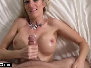 Blonde Cougar Blake Morgan gets cum on her big tits