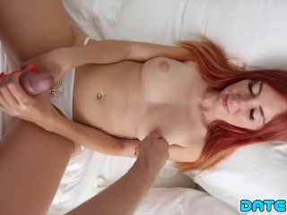 Date Slam - Big White Cock Fills Pretty Redheaded Babes Pussy