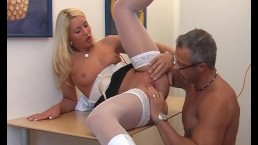 Sexy blonde does a...
