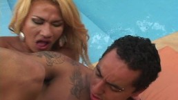 Voluptuous tranny fucked by...