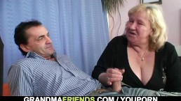 Granny gives double blowjob...