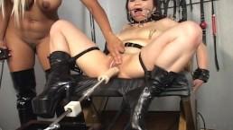 Blonde mistress toys her...
