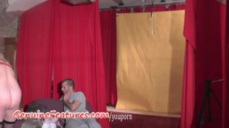 Hot backstage blowjob by...
