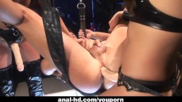 Two Asian femdoms peg...