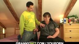 Busty lady seduced into...