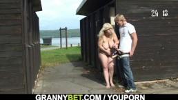 Blonde granny ride stranger...