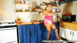 Cleaning the kitchen in...
