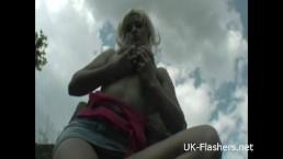Teen blonde flashers outdoor...
