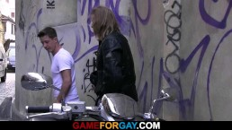 Tough biker drills gay...