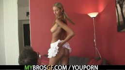 Euro blonde jumps at...