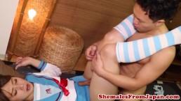 Uniformed jap tgirl gets...