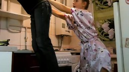 Cute housewife playing with...