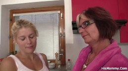 Teen and mom toying...
