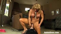 Buff chick Rides Sybian...