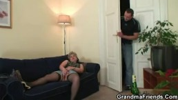 Nasty granny swallows two...