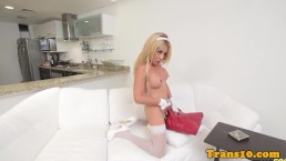 Stockinged latina transsexual jerking...