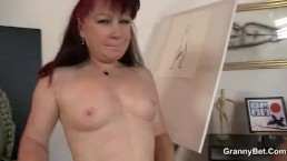 Hot mature lady jumps...