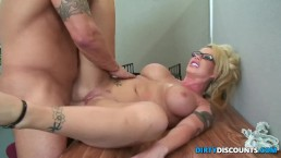 Pussylicked milf secretary rides...