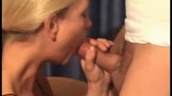 Blonde blows and receives a facial