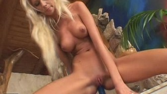 Hot Blonde Bambi joins a blue Dildo
