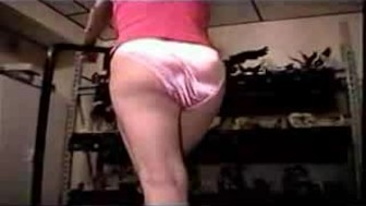 satin panties on the treadmill