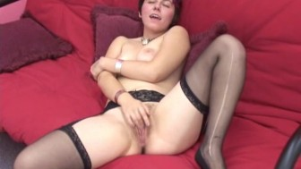 cute girl strips and plays with her hot pussy