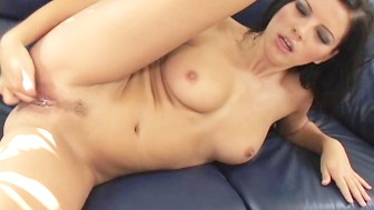Euro Babe Evelyn Dildos Her Tight Pussy