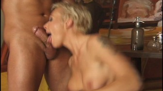 Blonde cant get enough cock in mouth