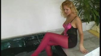 Renata wet nylon fun