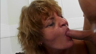 crazy old mom enjoys two cocks