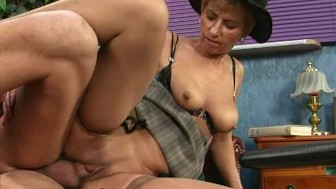 old mom enjoys her first anal sex