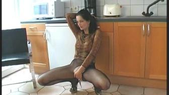 Angie in sexy nylon dress