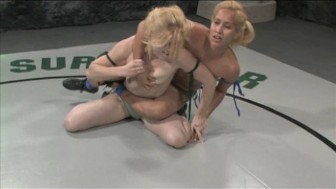 Blonde chicks in competitive nude wrestling