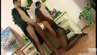 Anal sex in black pantyhose