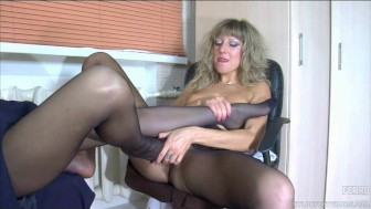 Lesbian nylon foot sex in the office