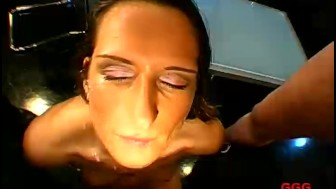 German girl face fucked and cum drenched