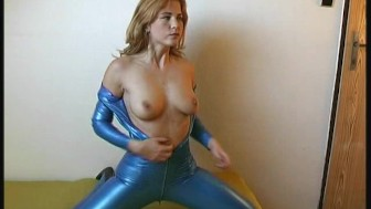 Flexi Rachel in blue latex dress
