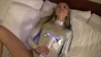 Silver Spandex Masturbation