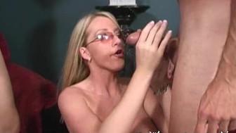 Cum on Glasses Barbie Cummings Double Facial