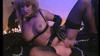 Black leather turns her on