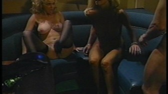 Sexy blondes share one cock (CLIP)