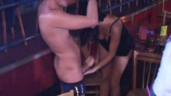 Milfs sucking Male Strippers cock others watch