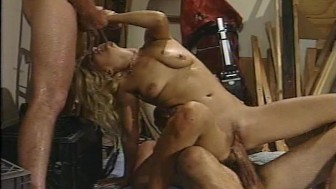 Heather has two helpers and she makes them both cum (CLIP)