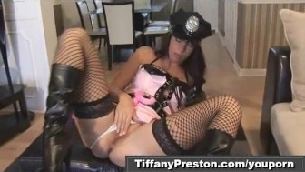 Busty police officer Tiffany get off