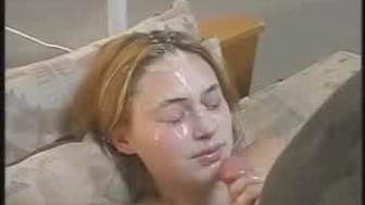 cum on blonde girl face