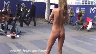 Slim babe naked in public